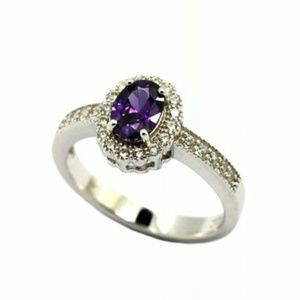 925 SILVER AMETHYST CZ OVAL ENGAGEMENT RING